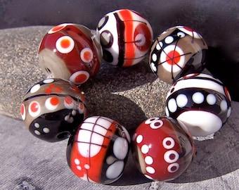 MruMru Handmade Lampwork Glass Bead set. (set of 7). Sra.