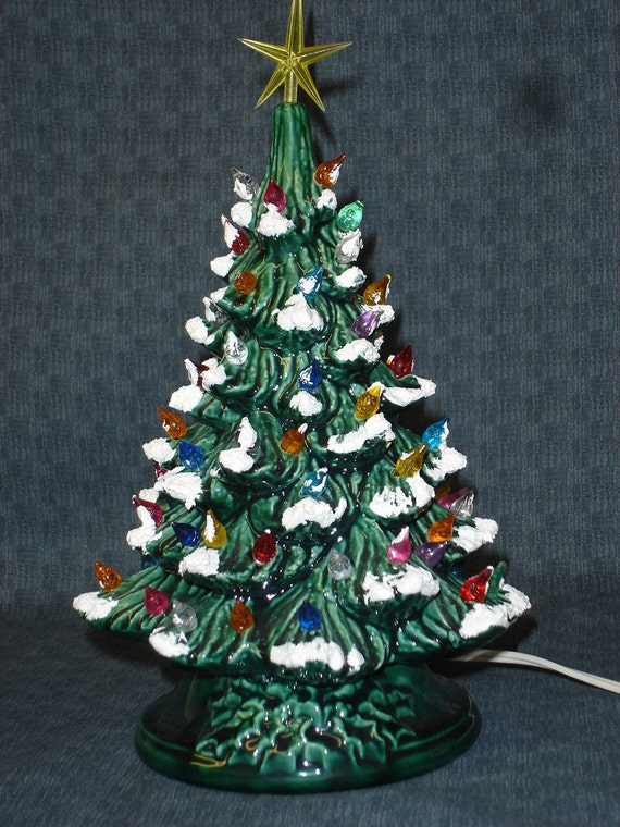 Ceramic Green Glazed Christmas Light Up Tree With