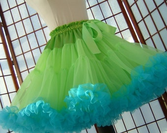 Pettiskirt Chartreuse Green and Turquoise Size Small Custom