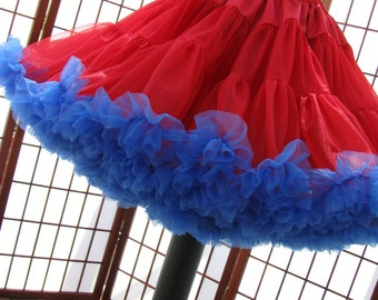 Pettiskirt Red and Royal Blue Size Medium Custom