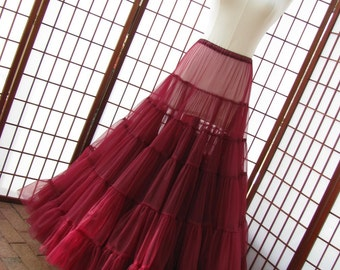 Petticoat Garnet Red Chiffon Floor Length Single Layer Size Small Custom