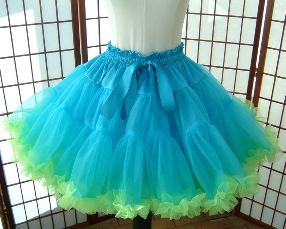 Pettiskirt Turquoise and Chartreuse Green Size Medium Custom