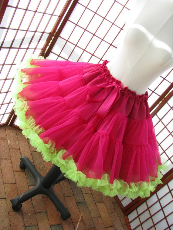 Pettiskirt Fuchsia and Chartreuse Green Size X-Small Custom