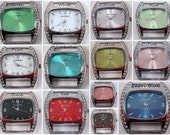 Chunky Squashed Bling.. Silver Ribbon, Solid-Bar Interchangeable Beaded Watch Face