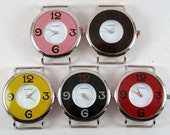 Whimsical Round.. Large Colored Interchangeable Watch Face, Ribbon, Solid Bar, MANY COLORS