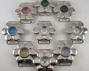 CLEARANCE Daisy Flower.. Solid-bar ribbon watch face, silver plated, colorful, interchangeable