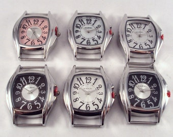 MINI Whimsy.. Small Interchangeable, Ribbon Watch Face, Brown, White, Silver Plated