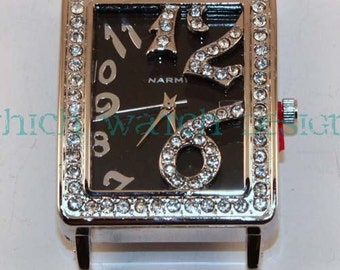 Rectangle Bling.. Fancy Large Rectangle Interchangeable, Solid Bar Watch Face, Rhinestones