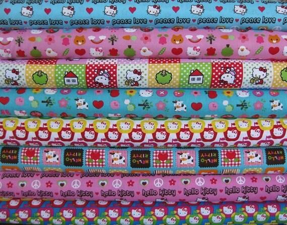Hello Kitty Fabric, Brite, in Half Yards, 8 Total