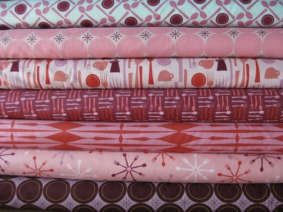 NEW Elizabeth House, Lizzy Dish, 1\/2 Yard Set, Pink\/Purple, 7 Total
