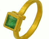 22k gold Square Emerald Renaissance Ring MADE TO ORDER using 100 percent recycled gold