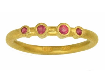 22k ring with 4 Pink Sapphires MADE TO ORDER using 100 percent recycled gold