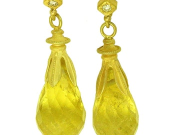 18k gold Yellow Tourmaline and Diamond drop earrings using 100 percent recycled gold MADE TO ORDER