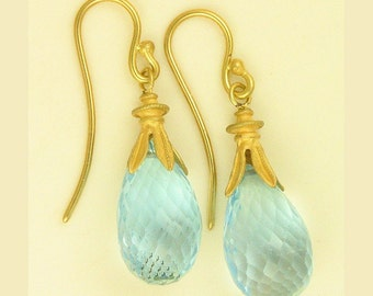 Blue Topaz drop earrings using 100 percent recycled gold MADE TO ORDER