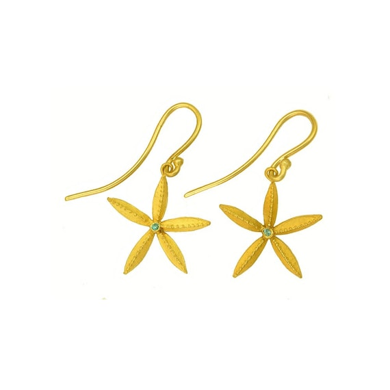 22k gold Starfish Earrings using 100 percent recycled gold. MADE TO ORDER