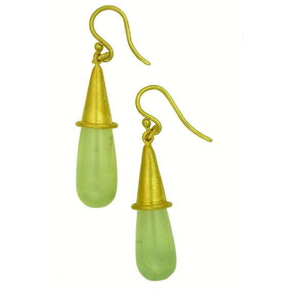 Simple Green Prehnite 22k gold earrings using 100 percent recycled gold MADE TO ORDER