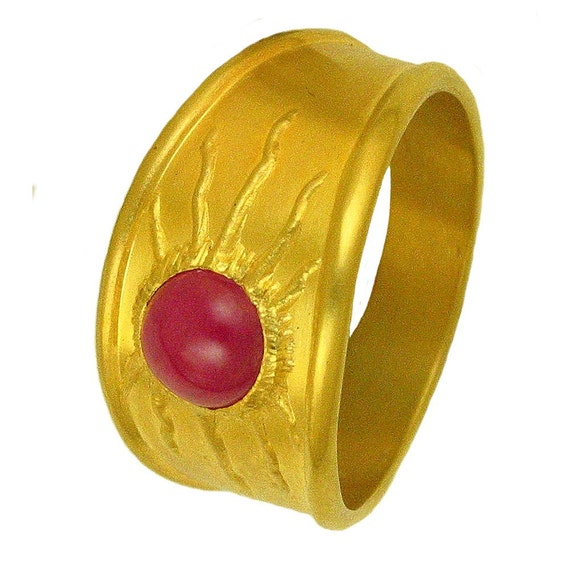 22k gold Ruby Sun Ring MADE TO ORDER using 100 percent recycled gold
