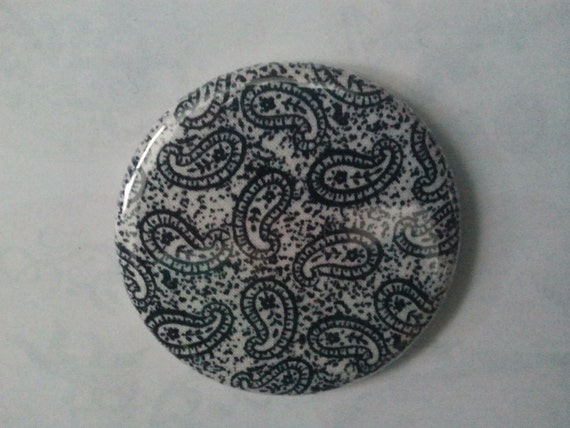 Pocket Mirror - Black/White paisley