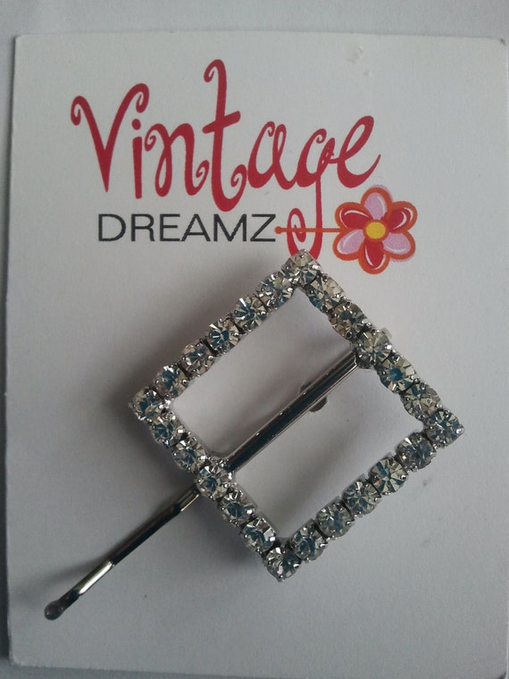 HANDMADE silver tone with rhinestones from a newer buckle, bobby pin, GORGEOUS