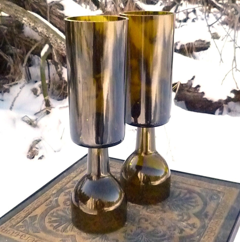 Free shipping upcycled wine bottle candle holders set of two for Champagne bottle candle holders