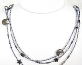 Darkest Midnight Seed Bead Austrian Crystal Mother of Pearl Hematite Necklace