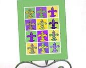 Mardi Gras Art - Fleur de Lis - 5x7 Signed Matted Art Printed On Watercolor Paper