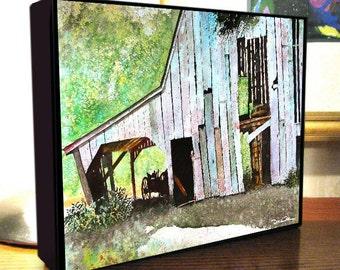 "Barn Wagon Art ""Barn With Wagon Shed"" 8x10x1.5"" and 11x14x1.5"" Gallery Wrap Canvas Print"