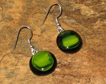 Sparkly Green Fused Glass Earrings