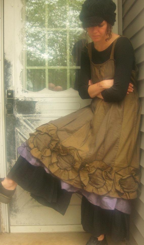 Ginger Wool Striped Flower Bottom Dress XL