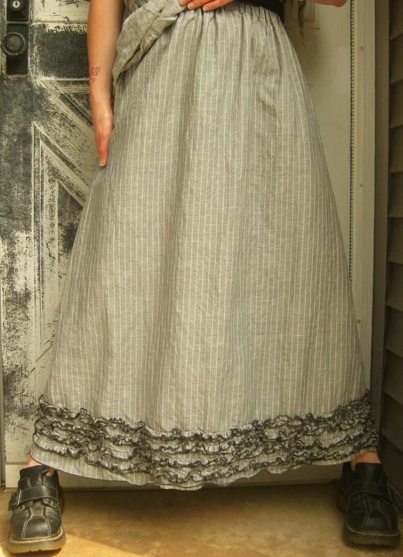 Long Mini Ruffle Skirt