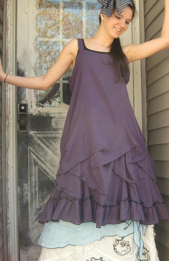 Purple Cotton Short Ruffle Slip Dress M