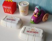 Vintage McDonalds Food Transformers Dinosaurs and Fraggle Rock Toys