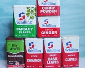 Seven Vintage Schilling Spice Tins