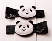 SWEET DEAL - Black Kung Fu Panda - Set of 2 Non Slip Hair Clips