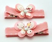 Pink Padded Butterflies - Set of 2 Non Slip Hair Clips