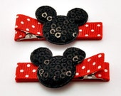 Minnie Mouse Ears - Set of 2 Non Slip Hair Clips