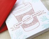 Coffee Letterpress Christmas Card - Holiday Card