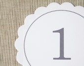 15 Wedding Table Numbers - Scalloped Circle Table Numbers