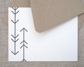 8 Arrow Cards - Letterpress Arrow Notecards - Pack of 8