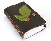 Leather Journal or Sketchbook - Leaves and Berry - Small