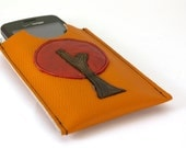 Leather Cell Phone Case in Pebbled Orange- christmasinjuly