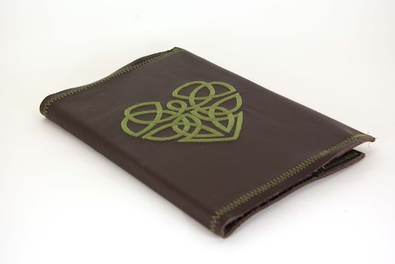 Celtic Heart - Brown and Green 5x7 Refillable Leather Journal-