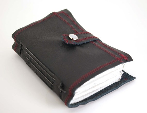 Re(a)d and Black All Over with Pen Holder - Leather Journal or Sketchbook - Pocket Size