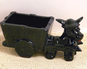 Vintage Redware Donkey and Cart Planter