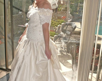Wedding Gown -Mori Lee  Raw Silk Beaded and Sequin - - Vintage 1980's