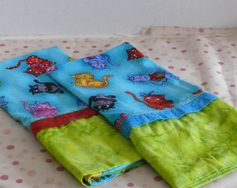 Crazy Cat Tourquoise Pillowcases with Lime Green Band and Red and Tourquoise Trim