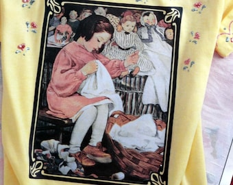 Evening Post Iron On TEESHIRT Transfers  - TWO - Vintage Child with Dolls -  AND  christmas child
