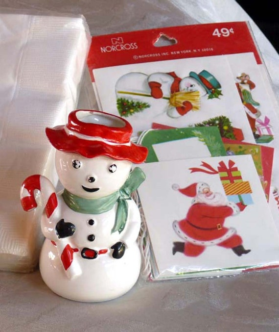 Christmas Gift Tags and Seals,  Vintage Snowman Ceramic Vase