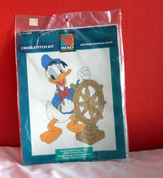 Embroidery Project  Kit - Counted Cross Stich-  Donald Duck- -Disneyland  Mickey Unlimited -