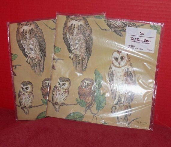 Vintage  OWL Gift Wrapping Paper - OWLs - NOS - Two Packages